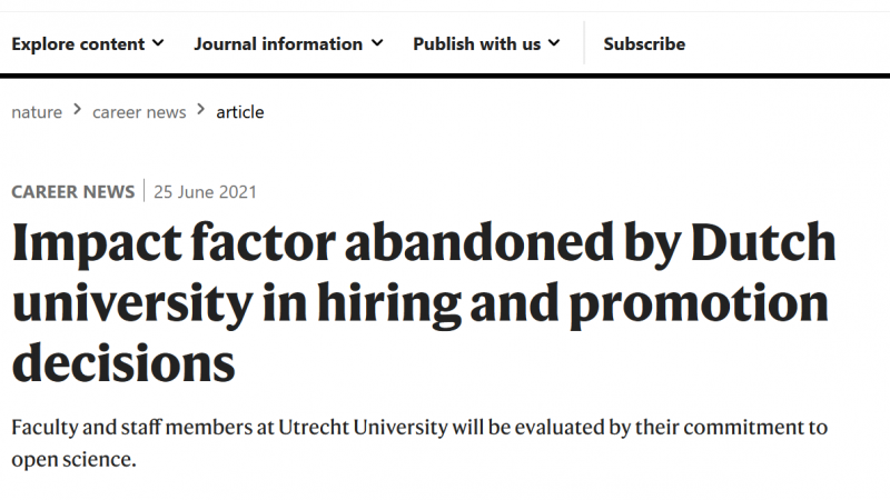 Nature article on Impact Factor